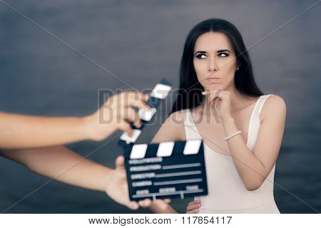 Actress Thinking About Next Line During Movie Shoot