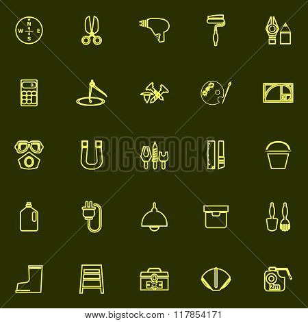Diy Tool Yellow Line Icons