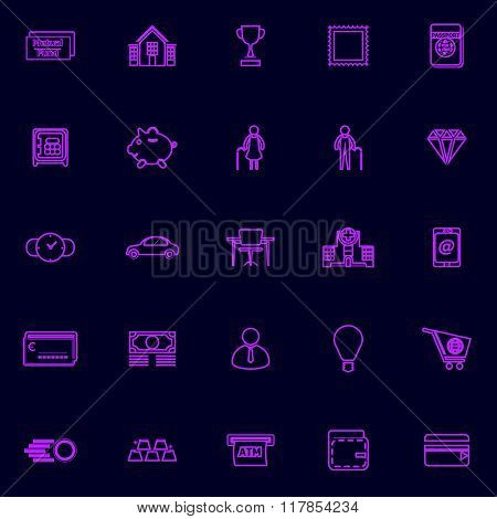 Personal Financial Purple Line Icons