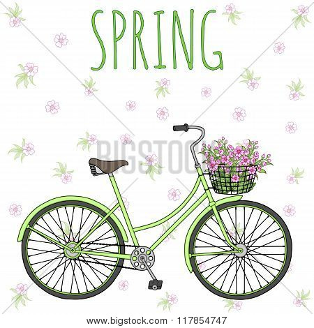 Bicycle with basket full of flowers.
