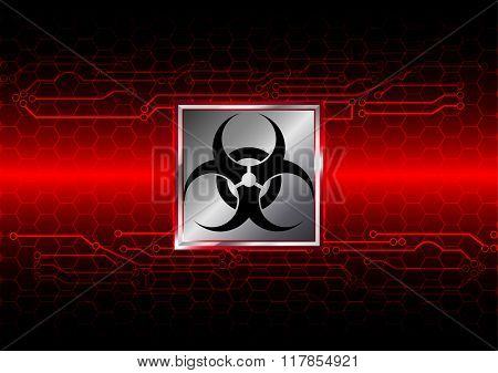 Abstract Biohazard With Hexagon And Circuit  Background