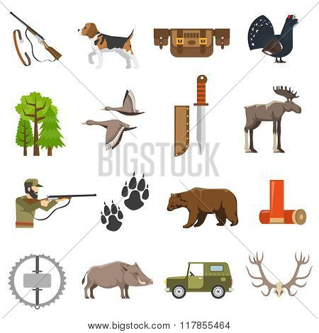 Flat color hunting icons set of wild animals and birds hunter with rifle jeep and bandolier isolated vector illustration