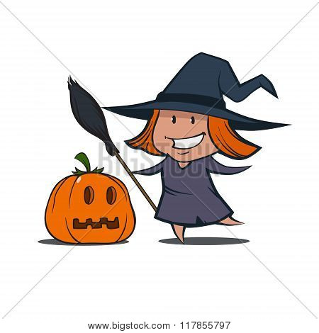 Cartoon Witch Pumpkin