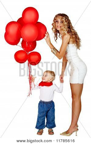Woman And Little Boy With Red Balloons