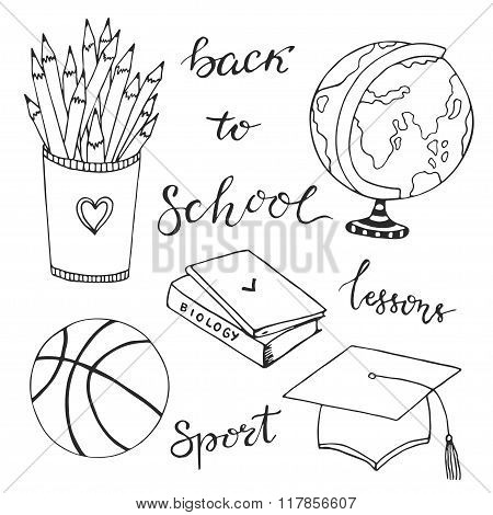 Hand drawn collection with school stationery icons. Vector doodle set. Back to school