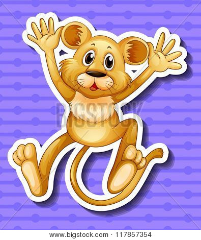 Little lion cub with happy face illustration