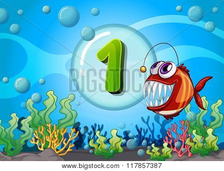 Flashcard number one with 1 fish underwater illustration