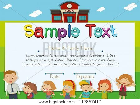 Diploma template with teachers and students background illustration