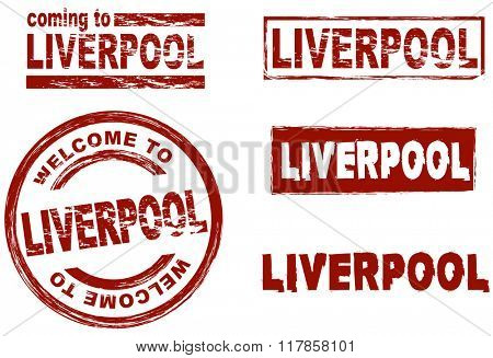 Set of stylized ink stamps showing the city of Liverpool