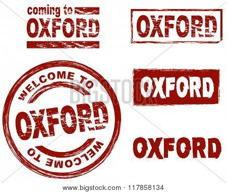 Set of stylized ink stamps showing the city of Oxford
