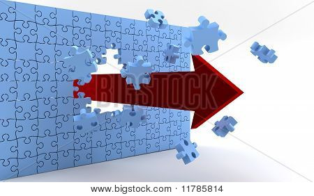 Wall Of Puzzle And A Red Arrow