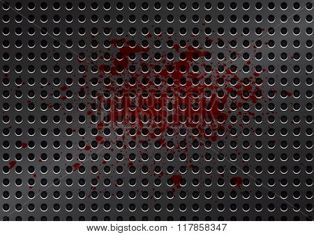 Vector Metal Grid With Splatter Red Color Background