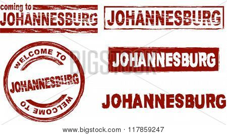 Set of stylized ink stamps showing the city of Johannesburg