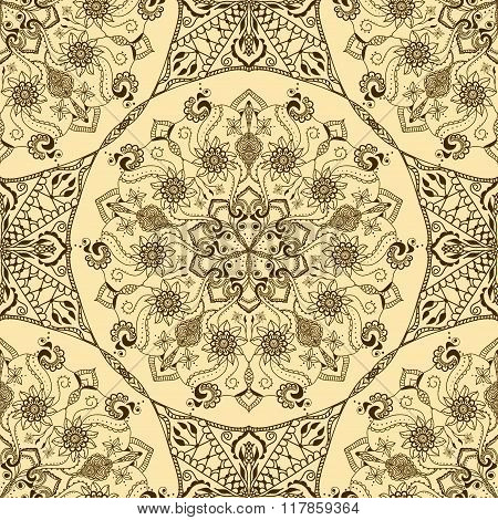 Vector Seamless Texture With Floral Mandala In Indian Style. Mehndi Ornamental Pattern