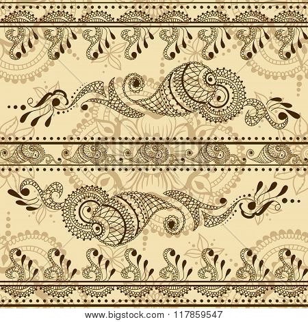 Vector Seamless Texture With Floral Ornament In Indian Style. Mehndi Ornamental Striped Pattern