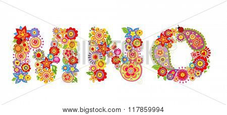 Floral alphabet with letter M, N, O