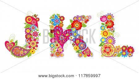 Floral alphabet with letter J, K, L