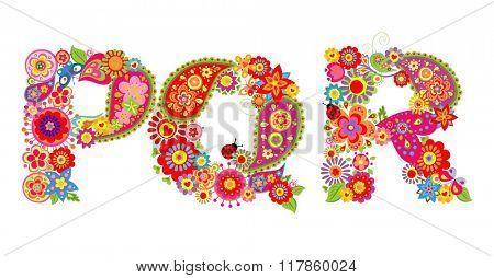 Floral alphabet with letter P, Q, R