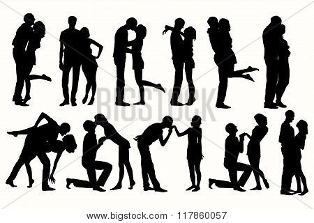Vector silhouette couple man and woman in love.