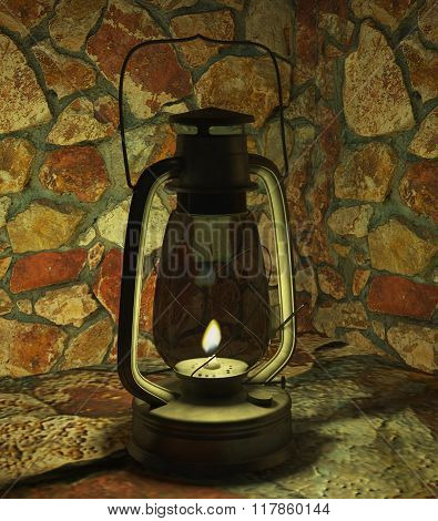 oil lamp in a stone cave