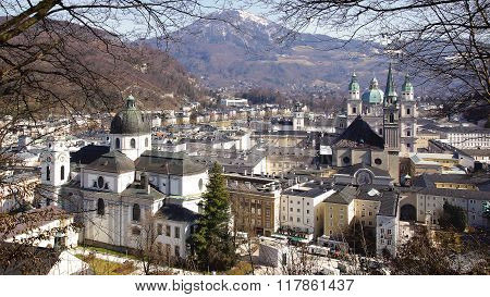 SALZBURG, AUSTRIA - MARCH 10, 2012: Panorama of Old Town, Altstadt. Old Town is internationally reno