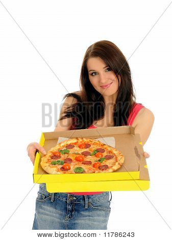 Pretty Young Casual Woman With Tasty Pizza In Delivery Paper Box. Isolated On White Background