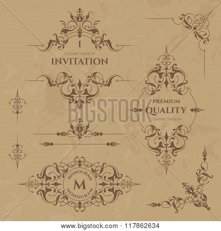 Set Of Decorative  Borders, Frames, Corners And Monograms. Graphic Design Page.