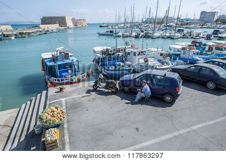 Boat dock of Heraklion port. Crete. Greece 16.09.2015.