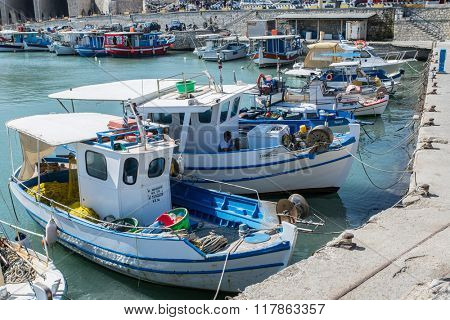 Fishing boats in the Heraklion port. Crete. Greece 16.09.2015.