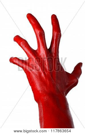 Red Hand On White Background, Isolated, Paint