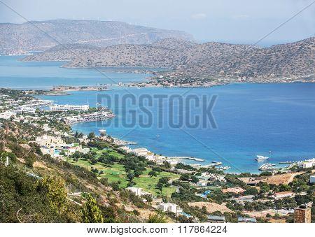 The marvelous landscape of the Elounda beach Crete. Greece 19.09.2015.
