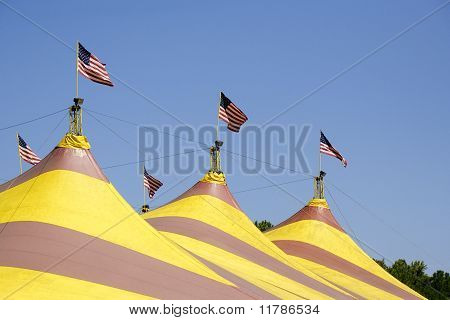 American Flags  On Circus Tent