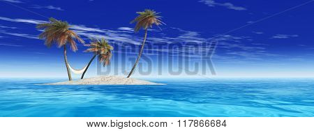 Concept or conceptual isolated exotic island with palm trees with a hammock and sand in the sea or ocean over blue sky background with white clouds banner