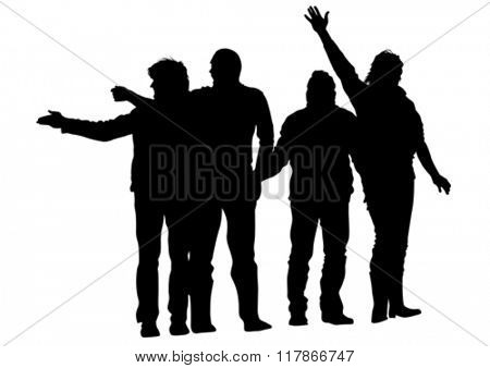 Young boys crowds on white background