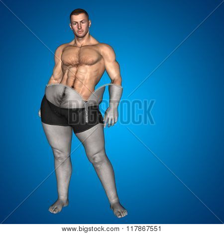 Concept or conceptual 3D fat overweight vs slim fit diet muscles zipper young man blue gradient background