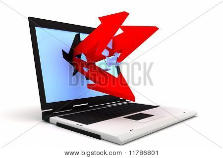 Arrows Exit By A Laptop