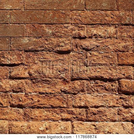 Rough Textured Clay Brick Wall