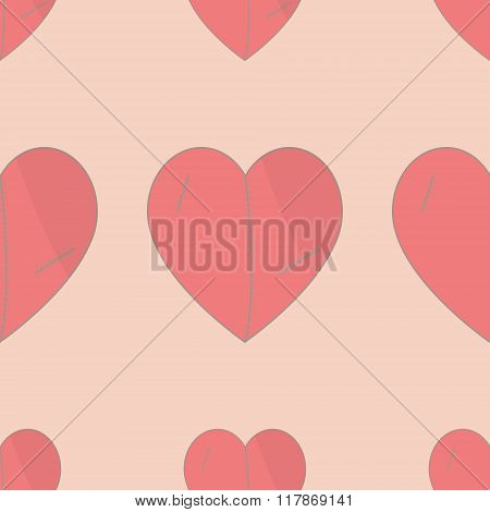 Heart. Heart pattern.Seamless pattern background heart.Plush hearts with stitches. Background Valent