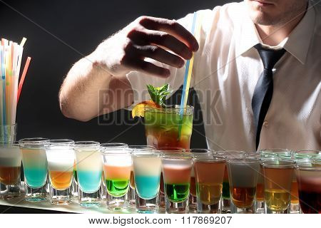Row Of Many Shots Cocktail