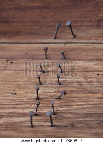 perfect brown wooden panels with rusty nails - selective focus