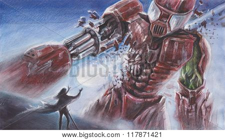 Fantasy Watercolor Landscape -  Big Red Robot Fights With A Person With Magical Powers - Performed B