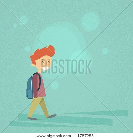 Little School Boy Walk, Carry Backpack Flat