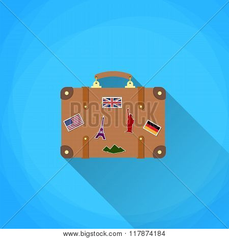 travel suitcase with funky stickers