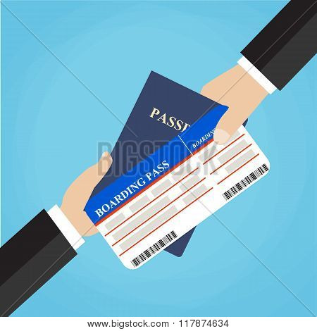 Businessman Receiving Boarding Pass and Passport