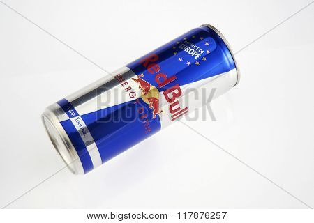 Kuala Lumpur Malaysia Jan 11th 2016,red bull aluminum can on the white background