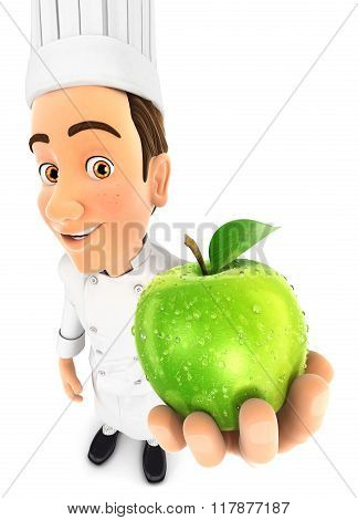 3d head chef holding fresh apple