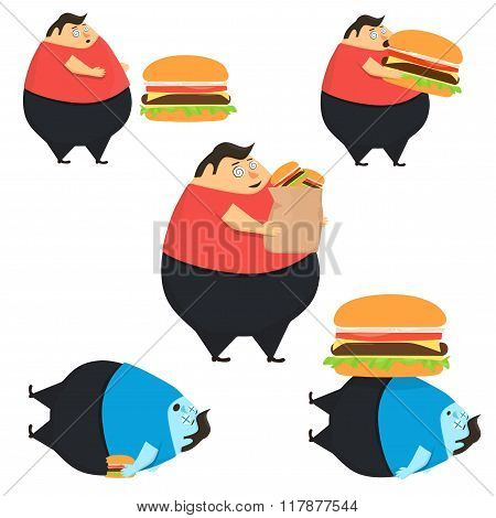 Set of fat people in state of hypnosis eat burger. Weak willpower. Dead man