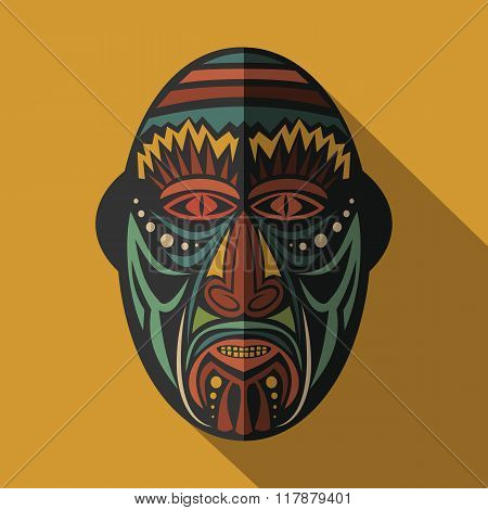 African Ethnic Tribal Mask In Color Background