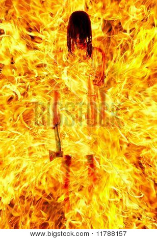 Girl With An Axe In A Fiery Flame. On Pain Of Death