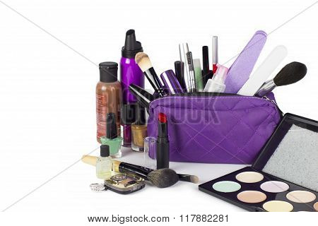 Cosmetic Group With Make Up Purse